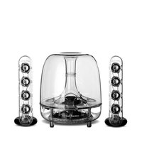 "Harman/Kardon Soundsticks III LED Desktop Soundsystem Lautsprechersystem mit Zwei ""Sticks"" Satellitenlautsprechern und Aktivem Subwoofer für Geräte mit 3,5mm Aux Kompatibilität - Transparent"