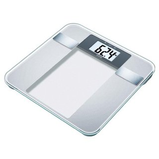 Beurer BG 13 Glas-Diagnosewaage mit großer LCD-Anzeige, misst Gewicht, Körperfett, Körperwasser, Muskelanteil und BMI